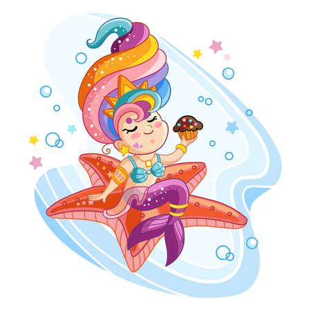 Vector cute kawaii mermaid sitting on a starfish Illustration