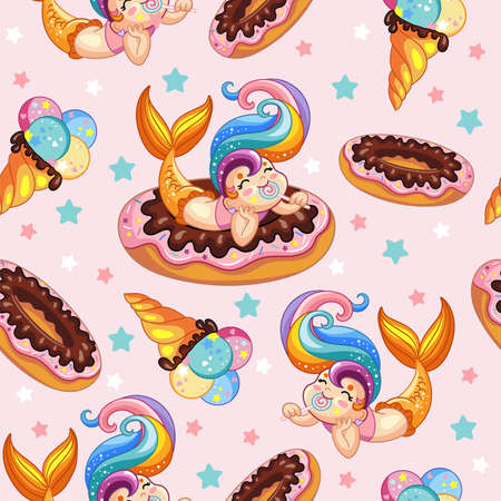 Seamless vector pattern with cute cartoon mermaid lies on a donut and ice cream. Colorful illustration vector background. Sea holidays concept. For print, design, wallpaper, decor, textile Illustration