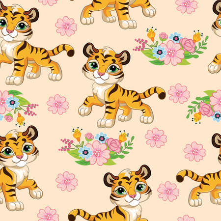 Seamless pattern with cartoon tigers and flowers on pink background. Vector illustration for party, print, baby shower, wallpaper, design, decor, linen, dishes, and kids apparel, packaging paper