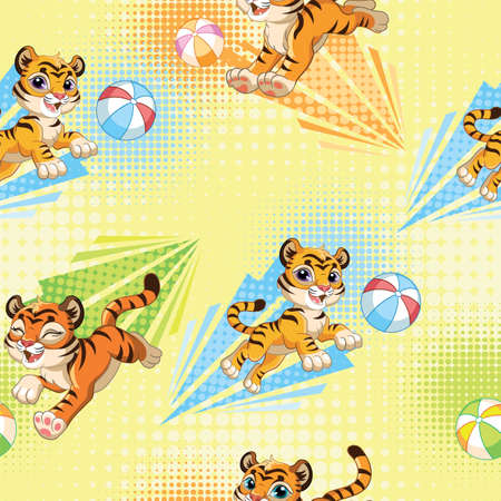 Seamless pattern with joyful tigers playing with balls on yellow background. Vector illustration for party, print, baby shower, wallpaper, design, decor, linen, dishes and kids apparel, packaging paper