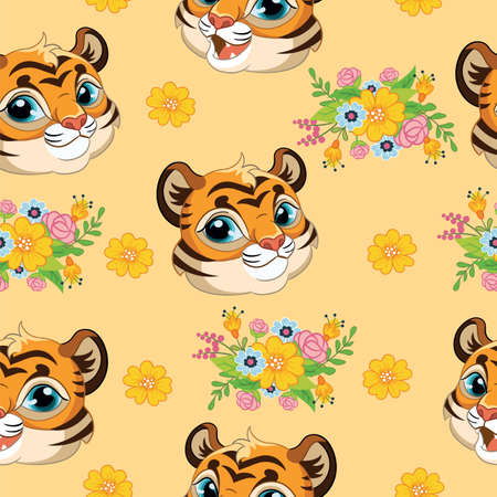 Seamless pattern with cute tigers heads and flowers on orange background. Vector illustration for party, print, baby shower, wallpaper, design, decor, linen, dishes, and kids apparel, packaging paper