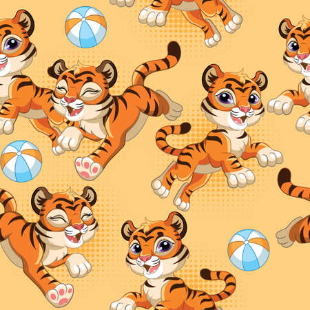 Seamless pattern with joyful cartoon tigers and balls on orange background. Vector illustration for party, print, baby shower, wallpaper, design, decor, linen, dishes, and kids apparel, packaging paper Illustration