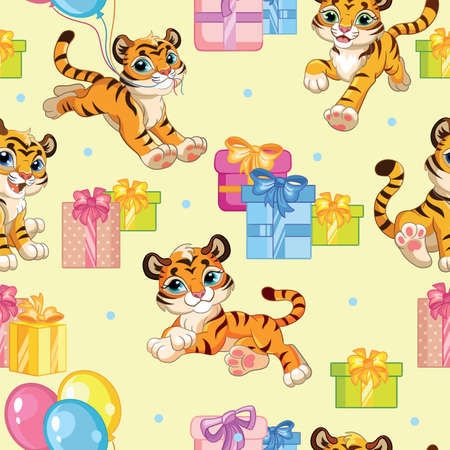 Seamless pattern with cartoon tigers and presents on yellow background. Vector illustration for party, print, baby shower, wallpaper, design, decor, linen, dishes, and kids apparel, packaging paper