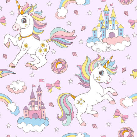 Seamless pattern with cute unicorns, castles, sweets and rainbows on pink background. Vector illustration for party, print, baby shower, wallpaper, design, decor, linen, dishes, bed linen, apparel