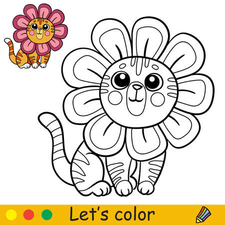 Cute little happy cat in a flower costume. Coloring book page with colorful template for kids. Vector isolated illustration. For coloring book, print, game, party, design