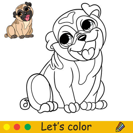 Cute little sitting and smiling dog pug. Coloring book page with colorful template for kids. Vector isolated illustration. For coloring book, print, game, party, design