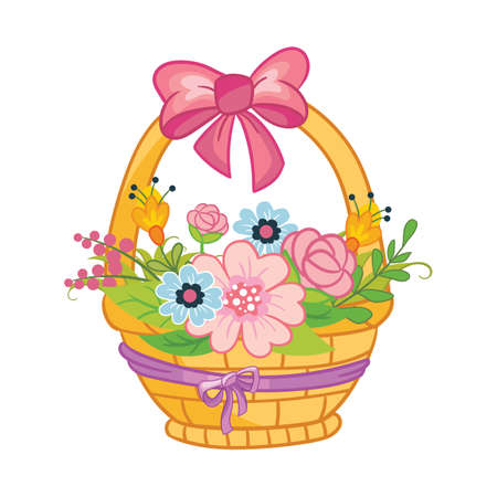 Cute cartoon wicker basket with bow and flowers. Vector isolated illustration on white background. For t-shirt, print and design, poster, card, sticker, decor and apparel Иллюстрация