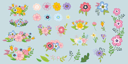 Set of flowers, leaves and bouquets. Cute vector elements in flat cartoon children style. Colorful isolated illustration. For design, poster, textile, wedding invitation, banners. Vector illustration. Иллюстрация