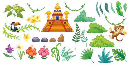 Set of tropical leaves, exotic flowers, toucan, monkey, lost temple. Cute vector elements in flat cartoon children style. For design, poster, textile, wedding invitation, banners. Vector illustration.
