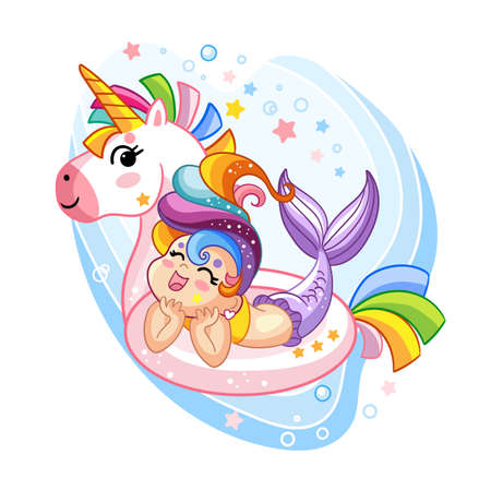 Happy kawaii mermaid in inflatable circle in shape of unicorn. Vector cartoon character isolated illustration. Stock illustration. For t-shirt and apparel, print and design, poster, card, sticker, decor