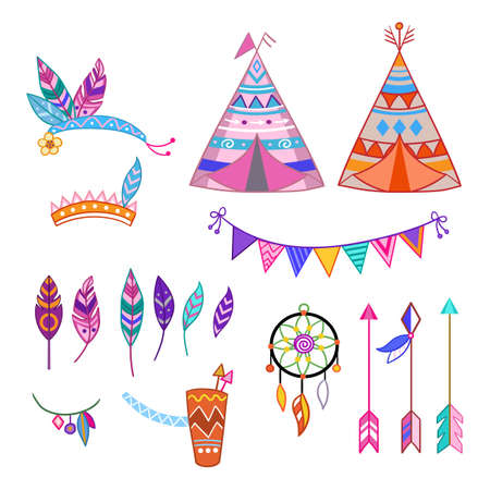 Set of cute tribal elements in cartoon style. Feathers, flags, dream catcher and teepee. Cute vector elements in flat cartoon children style. For design, poster, textile, banners. Vector illustration. Иллюстрация