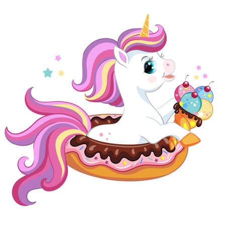 Cute cartoon unicorn with ice cream sitting in donut. Vector isolated unicorn character illustration. For poster, print, nursery design, card, sticker, decor, party, t-shirt, kids apparel, invitation