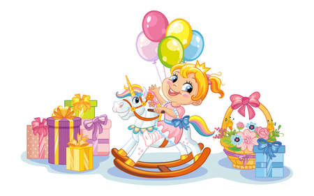 Preschool cute smiling girl riding on fantasy rocking horse and presents. Birthday and celebration concept. Vector character isolated illustration. For apparel, print, design, poster, card, sticker