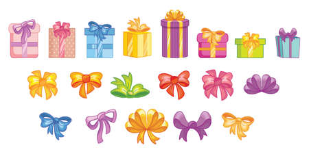 Set of colorful gift boxes with ribbons and bows. Decorative stylish wrap for presents package. Gifts collection web icon sign symbol. Vector isolated illustration in flat cartoon children style. Иллюстрация