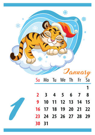 Wall calendar for 2022, January. Cute cartoon tiger is sleeping on a cloud. The symbol of the year. Animal character. Color vector illustration. Week start in Sunday. In size A4. For print and design.