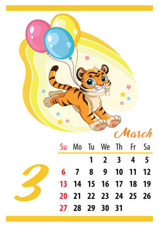 Wall calendar for 2022, March. Cute cartoon tiger cub runs with balloons. The symbol of the year. Animal character. Color vector illustration. Week start in Sunday. In size A4. For print and design.