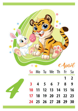 Wall calendar for 2022, April. Cute cartoon tiger cub with easter bunny. The symbol of the year. Animal character. Color vector illustration. Week start in Sunday. In size A4. For print and design. Иллюстрация