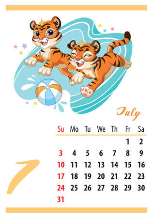 Wall calendar for 2022, July. Cute cartoon tigers play with a ball in the water.Symbol of the year. Animal character. Color vector illustration. Week start in Sunday. In size A4. For print and design. Иллюстрация