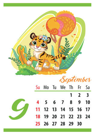 Wall calendar for 2022, September. Cute cartoon tiger in the autumn forest. The symbol of the year. Animal character. Color vector illustration. Week start in Sunday. In size A4. For print and design.