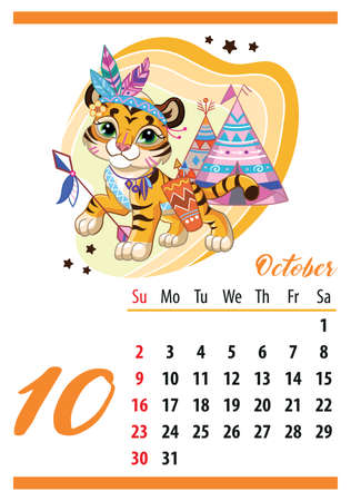 Wall calendar for 2022, October. Cute cartoon tiger cub in an Indian costume. The symbol of the year. Animal character. Color vector illustration. Week start in Sunday. In size A4.For print and design