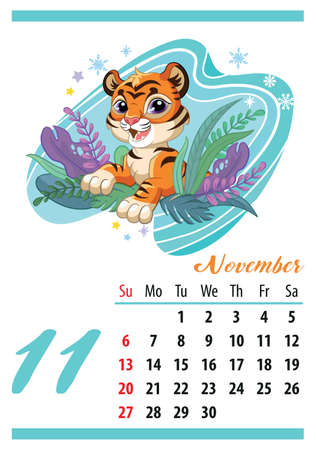 Wall calendar for 2022, January. Cute cartoon tiger looks out of the bushes. The symbol of the year. Animal character. Color vector illustration. Week start in Sunday. In size A4. For print and design