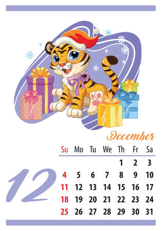Wall calendar for 2022, December. Cute cartoon new years tiger cub with gifts. Animal character. Color vector illustration. Week start in Sunday. In size A4. For print and design