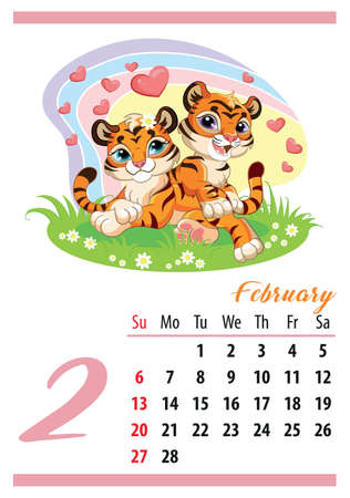 Wall calendar for 2022, February. Two cute lying tiger cubs and hearts. The symbol of the year. Animal character. Color vector illustration. Week start in Sunday. In size A4. For print and design. Иллюстрация