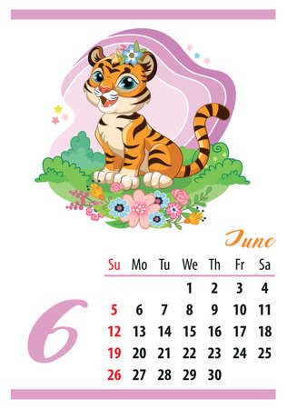 Wall calendar for 2022, June. Cute cartoon tiger cub sitting in flowers. The symbol of the year. Animal character. Color vector illustration. Week start in Sunday. In size A4. For print and design. Иллюстрация