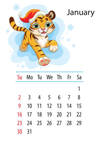 Wall calendar design template for january 2022, year of Tiger according to the Chinese or Eastern calendar. Animal character. Vector illustration. Week start in Sunday.In size A4. For print and design