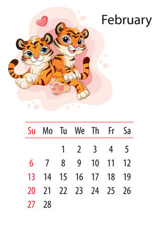 Wall calendar design template for february 2022, year of Tiger according to the Chinese or Eastern calendar. Animal character. Vector illustration. Week start in Sunday.In size A4. For print and design