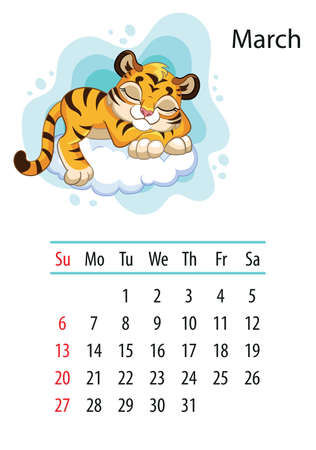 Wall calendar design template for March 2022, year of Tiger according to the Chinese or Eastern calendar. Animal character. Vector illustration. Week start in Sunday.In size A4. For print and design