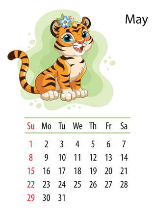 Wall calendar design template for may 2022, year of Tiger according to the Chinese or Eastern calendar. Animal character. Vector illustration. Week start in Sunday. In size A4. For print and design Иллюстрация