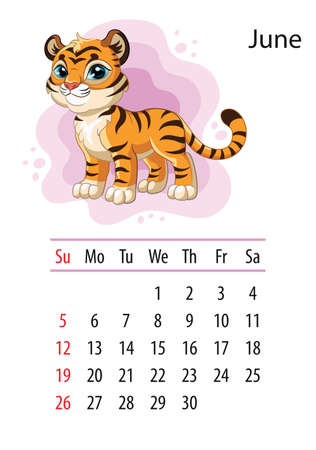 Wall calendar design template for june 2022, year of Tiger according to the Chinese or Eastern calendar. Animal character. Vector illustration. Week start in Sunday. In size A4. For print and design Иллюстрация