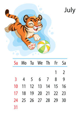 Wall calendar design template for july 2022, year of Tiger according to the Chinese or Eastern calendar. Animal character. Vector illustration. Week start in Sunday. In size A4. For print and design Иллюстрация