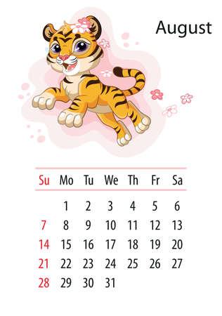 Wall calendar design template for August 2022, year of Tiger according to the Chinese or Eastern calendar. Animal character. Vector illustration. Week start in Sunday. In size A4. For print and design