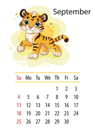 Wall calendar design template for September 2022, year of Tiger according to the Chinese or Eastern calendar. Animal character. Vector illustration. Week start in Sunday. In size A4. For print and design Иллюстрация