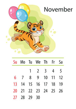 Wall calendar design template for november 2022, year of Tiger according to the Chinese or Eastern calendar. Animal character. Vector illustration. Week start in Sunday. In size A4. For print and design Иллюстрация