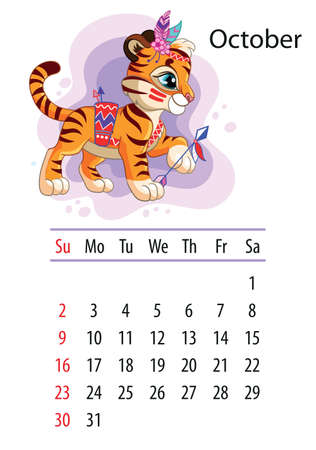 Wall calendar design template for october 2022, year of Tiger according to the Chinese or Eastern calendar. Animal character. Vector illustration. Week start in Sunday. In size A4. For print and design Иллюстрация