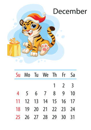 Wall calendar design template for december 2022, year of Tiger according to the Chinese or Eastern calendar. Animal character. Vector illustration. Week start in Sunday. In size A4. For print and design Иллюстрация