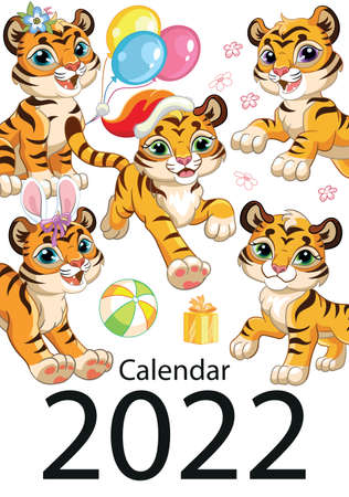 Wall calendar cover design template for 2022, year of Tiger according to the Chinese or Eastern calendar. Animal character. Vector illustration. Week start in Sunday. In size A4. For print and design