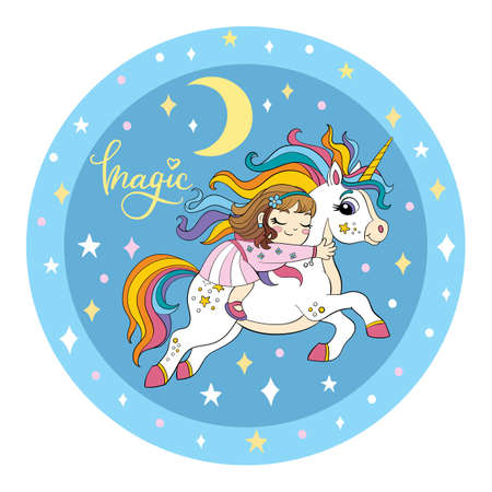 A cute girl is sleeping on the back of a unicorn. Vector illustration circle shape on blue cosmic background. For print, baby shower, design, decor, bed linen and kids apparel