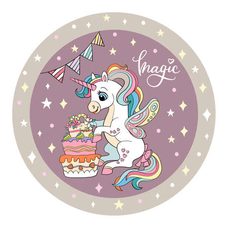Cute white unicorn is sitting next to a large cake. Vector illustration circle shape. Birthday concept. For party, print, baby shower, design, decor, dishes, bed linen and kids apparel