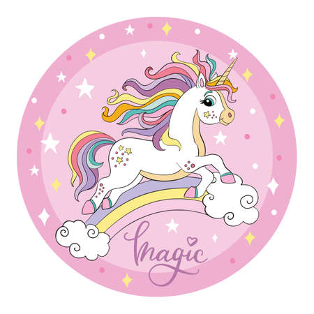 Cute cartoon white unicorn runs on a rainbow. Vector illustration circle shape on pink background. For party, print, baby shower, design, decor, dishes, bed linen and kids apparel Иллюстрация