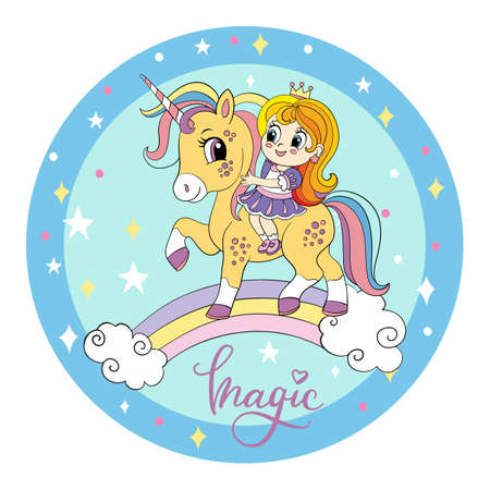 Cute cartoon girl ride on the back of a unicorn on a rainbow. Vector illustration circle shape on blue cosmic background. For print, baby shower, design, decor, bed linen and kids apparel Иллюстрация
