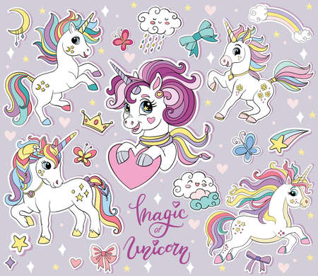 Set of cute cartoon unicorns and magic elements. Vector isolated illustration. For print, stickers, cards, posters, design, decor and kids Иллюстрация