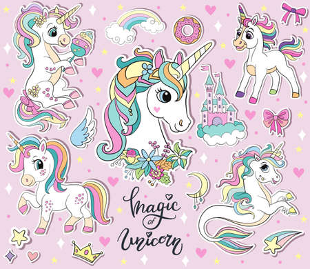 Set of cute cartoon unicorns and magic elements. Vector isolated illustration. For sticker pack, print, posters, design, decor, linen, dishes, t-shirt and kids apparel