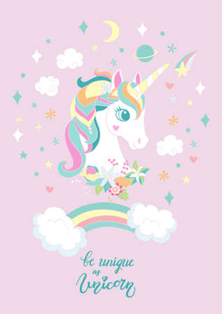 Cartoon white unicorn with rainbow and magic elements. Vector vertical llustration isolated on pink background. For sticker, design, decor, print and kids apparel