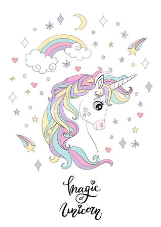 Cartoon white unicorn with rainbow and cosmic elements. Vector vertical llustration isolated on white background. For sticker, design, decor, print and kids apparel