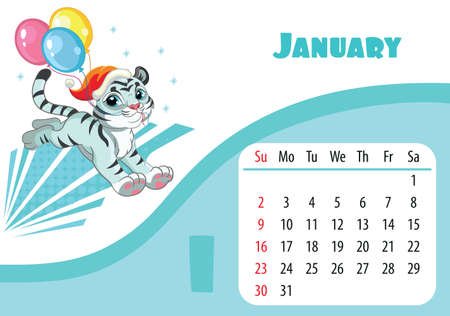 Horizontal desktop childrens calendar design for January 2022, the year of the Tiger in the Chinese calendar. Cute running white tiger character with balloons. Vector illustration.Week start in Sunday Иллюстрация