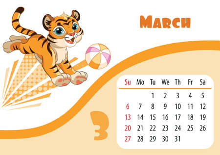 Horizontal desktop childrens calendar design for March 2022, the year of the Tiger in the Chinese calendar. Cute running tiger cub character with ball. Vector illustration. Week start in Sunday. Иллюстрация